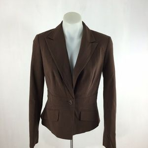 Worthington Solid Brown Single Button Long Sleeve